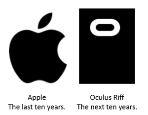 Apple and the Apple logo has dominated culture, sale s and mindshare for the last 10 years. The new logo of Oculus Riff will enter into the minds of everyone in March 2016, and may become the logo of the next 10 years.